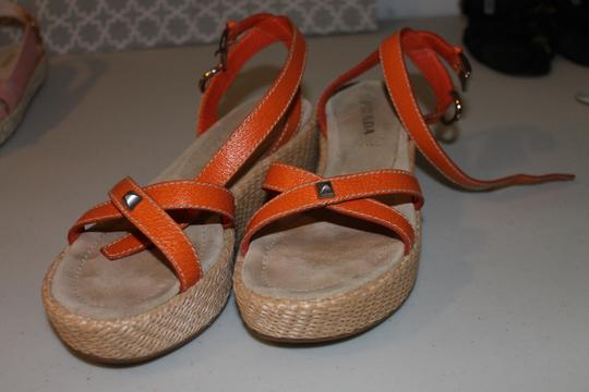 Prada Wedge Leather European Orange/Tan Platforms