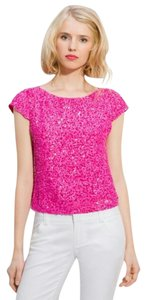 Alice + Olivia Silk Sequjn Top Pink