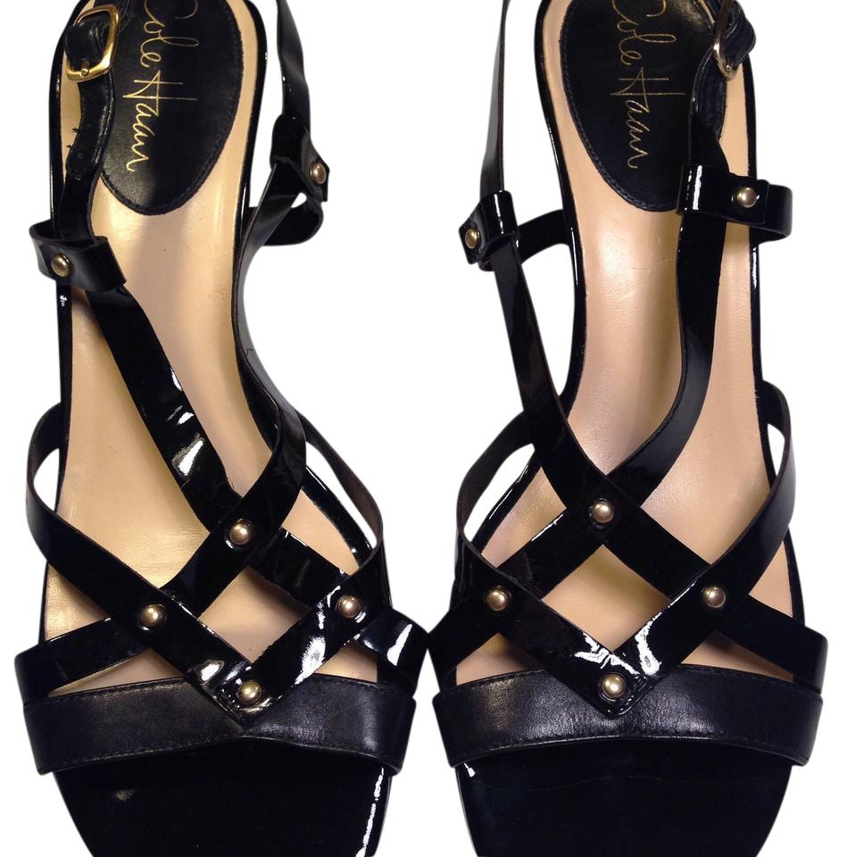 80b8d253fb3 Cole Haan Black Leather and Patent Strappy Slingback Sandals Size US ...