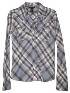 Moda International Button Down Shirt Blue Plaid