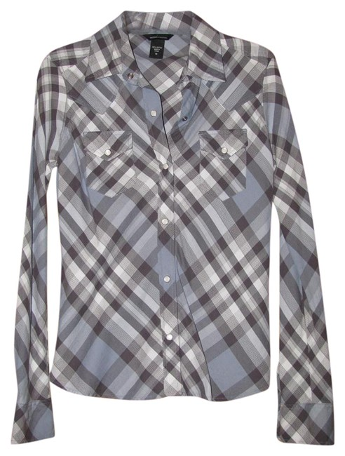 Preload https://img-static.tradesy.com/item/19348450/moda-international-blue-plaid-button-down-top-size-8-m-0-2-650-650.jpg