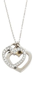 Tiffany & Co. Tiffany & Co. 18k Gold Diamond Double Heart Necklace