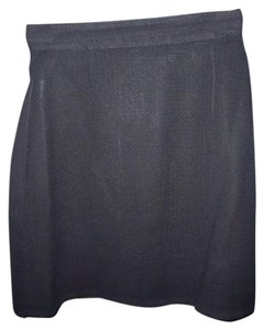 Other Textured Lined Vintage High Waist Professional Mini Skirt Black