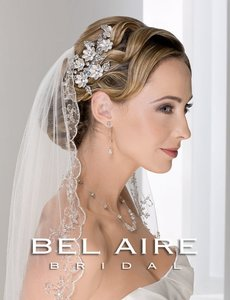 Bel Aire Bridal Gorgeous Embroidered Beaded Ivory Elbow Length Wedding Veil