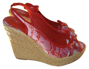 Coach Red Fabric Multicolor signature Wedges
