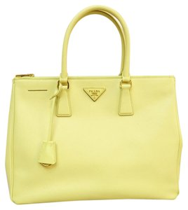 Prada Saffiano Large Tote Satchel in yellow