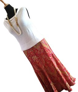 Talbots Maxi Skirt Coral and white multi