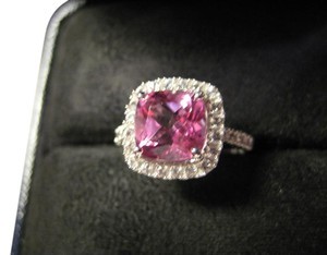 Pink topaz and White Sapphire Halo Ring