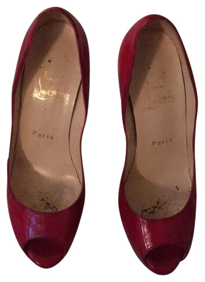Christian Louboutin Red Peep Lady Peep Red Watersnake Platforms 31261c