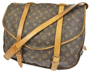 Louis Vuitton Monogram Canvas Leather Saumur 43 Brown Messenger Bag