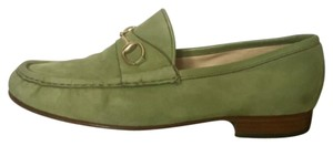 Gucci Loafer Bit Suede Light green Flats