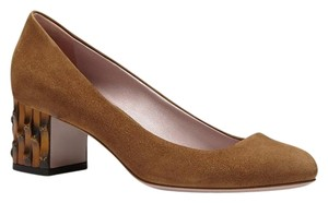 Gucci Bamboo Heel Suede 338758 Brown2527 Pumps