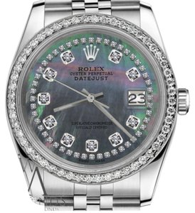 Rolex Ladies 26mm Datejust Black MOP Mother of Pearl String Diamond Watch