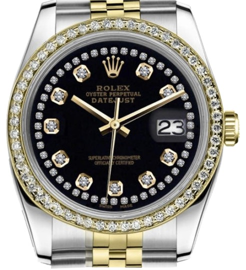 Preload https://item2.tradesy.com/images/rolex-women-s-26mm-datejust-2-tone-black-color-string-diamond-accent-dial-watch-19350586-0-3.jpg?width=440&height=440