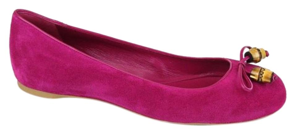 d64f63dbe Gucci Fuchsia 5523 Women s Suede Bamboo Bow Ballet 39 Us 9 338863 Flats