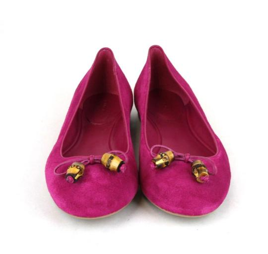 Gucci Womens Suede Bamboo Bow Fuchsia 5523 Flats