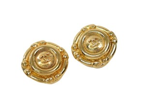 Chanel C C Logo Earrings 18ktGold Plated