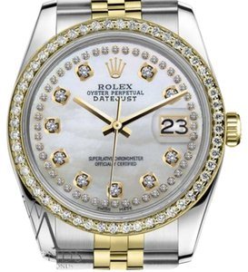Rolex Women`s 26mm Datejust 2 Tone White Mother of Pearl String Diamond Dial