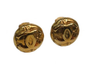 Chanel C C Logo High Relief Gold Plated Earrings