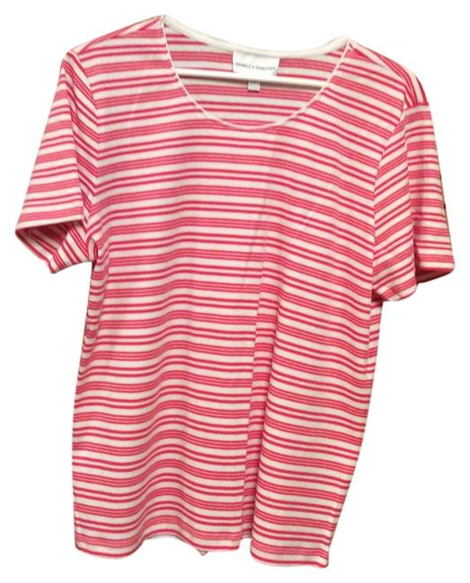 Preload https://img-static.tradesy.com/item/19350886/red-and-white-stripe-ss-knit-l-nwot-tee-shirt-size-14-l-0-2-650-650.jpg