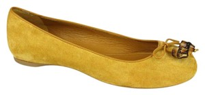 Gucci Womens Suede Bamboo Bow Nectarine 7012 Flats