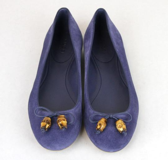 Gucci Womens Suede Bamboo Bow Blue 4233 Flats
