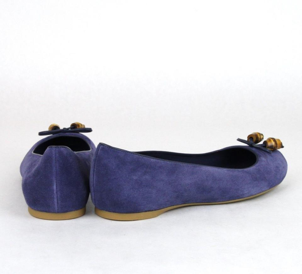 670bcb1c358 Gucci Blue 4233 Womens Suede Bamboo Bow Ballet 338863 39 Us 9 Flats ...