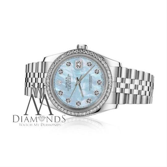 Rolex Men`s 36mm Datejust Baby Blue Mother Of Pearl Dial with Diamond RRT
