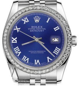 Rolex Men`s36mm Datejust Blue Color Roman Numeral Dial Installation Watch
