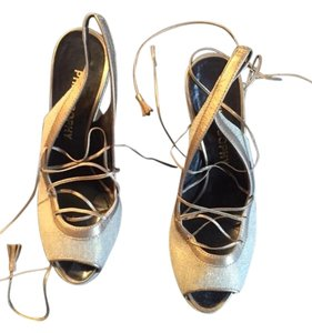 Philosophy di Alberta Ferretti Leather Lined Mettalic slightly Iridescent Silver/Gold Linen Wedges