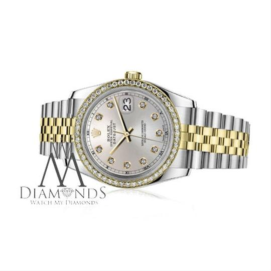 Rolex Men`s 36mm Datejust 2 Tone Silver Color Dial with Diamond Accent RT