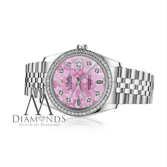 Rolex Men`s 36mm Datejust Pink Flower Mother of Pearl Dial Diamond Watch