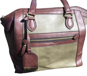 London Fog Tote in Brown/ Olive Green