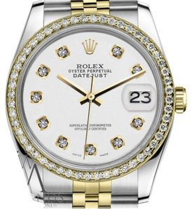 Rolex Woman's 36mm Datejust 2 Tone White Color Dial with Diamond Accent