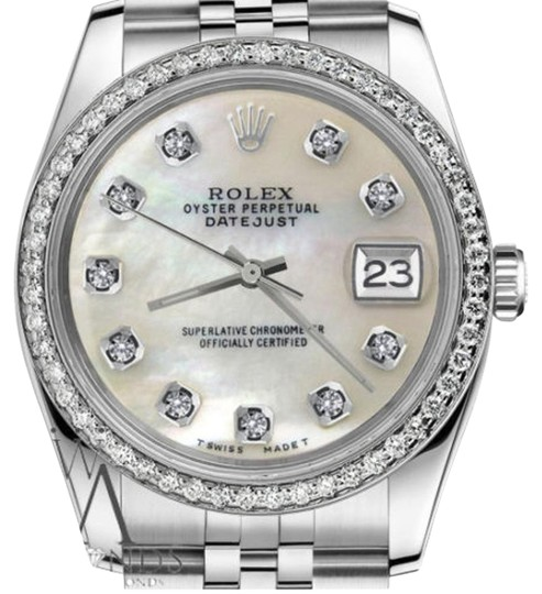 Preload https://item2.tradesy.com/images/rolex-men-s-36mm-datejust-white-mop-mother-of-pearl-diamond-dial-watch-19351201-0-1.jpg?width=440&height=440