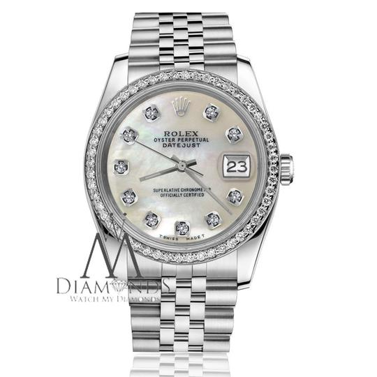 Rolex Men`s 36mm Datejust White MOP Mother Of Pearl Diamond Dial Watch