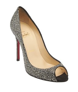Christian Louboutin Sexy Strass Crystal Peep Toe Black & Silver Pumps