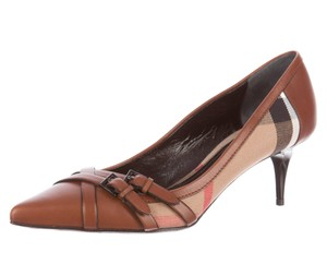 Burberry Nova Check Plaid Monogram Beige, Brown Pumps