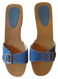 Marc Jacobs Slides Wooden Fabric blue Mules