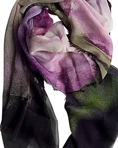 FashionRabbitnyc Silk Chiffon Engineered Art Print Scarf with Raw Edge