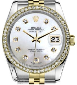 Rolex Women`s 26mm Datejust 2 Tone White Mother of Pearl Dial with Diamond