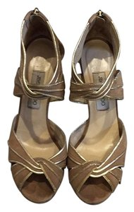 Jimmy Choo Nude/gold Platforms