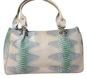 Kate Landry Leather Tote in beige/green/gray