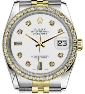 Rolex Women`s 26mm Datejust 2 Tone White Color Dial with 8+2 Diamond Accent