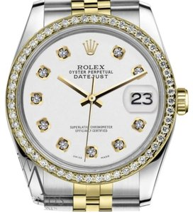Rolex Women`s 26mm Datejust 2 Tone White Color Dial Diamond Accent Watch