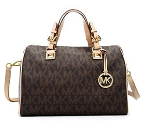MICHAEL Michael Kors Grayson Greyson Signature Satchel in Brown