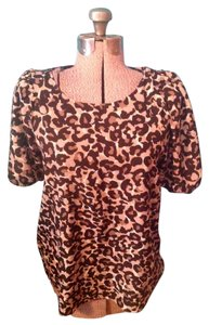 Ann Taylor LOFT Leopard Animal Short Sleeves Smooth Polyester Top