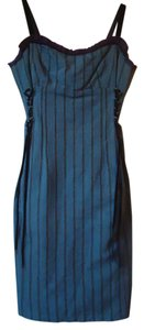 Nanette Lepore Sweetheart Neckline Blue Ruffle Dress