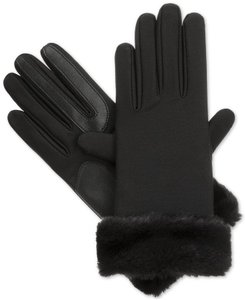 Isotoner Black Stretch Faux Fur Cuff smarTouch Lined Womens Gloves S XS