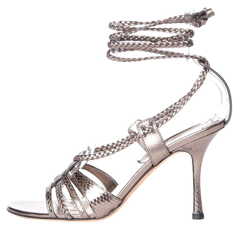 a4ac3831acbf Dior Silver Christian Embossed Leather Wrap Around Sandals. Size  EU 38 ...